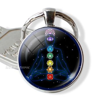7 Chakra Yoga Om Symbol Keychain Pendant Men Women Vintage Car Key Chain Key Rings Indian Meditation Jewelry