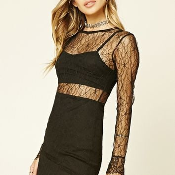 Floral Lace Overlay Dress