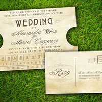 Vintage Rustic Train Ticket Customizable Wedding Invitation and RSVP Card Suite - DIY Printable Double Sided