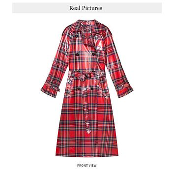 ORA Plaid Patent Leather Double Breasted Trench Coat