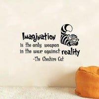 "Alice In Wonderland Wall Decals Cheshire Cat Quotes- ""Imagination is the only weapon..""Vinyl Wall Sticker Wall Art Stickers"