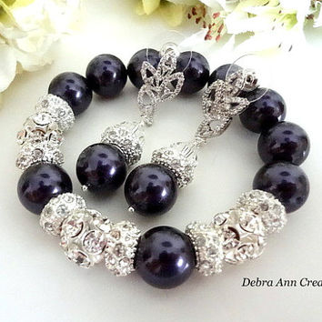 Swarovski Crystal Dark Purple Pearl Bracelet Earring Set Purple Eggplant Wedding Bridal Bridesmaid Formal Jewelry Mother of the Bride Groom