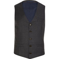 River Island MensGrey pinstripe single breasted vest