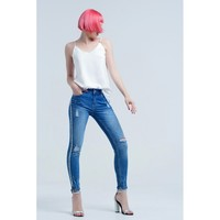 Jeans with shiny side stones and rips