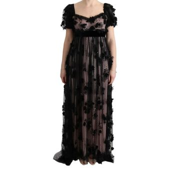 Dolce & Gabbana Black Pink Silk Applique Shift Dress