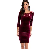 Fashion  New Women Dress Elegant Hollow Out Round Neck Sleeved Velvet Work Business Casual Party dress Pencil Sheath Vestidos