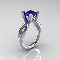 Modern 14K White Gold 1.5 Carat Blue Sapphire Diamond Solitaire Ring AR110-14KWGDBS