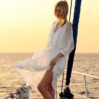 Women's Fashion Lace Beach Dress Summer Beach One Piece Dress