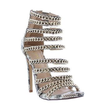Sexy Chain Snake Peal Caged Gladiator High Heel Sandals