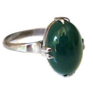 Chrysoprase Sterling Ring, Silver 950, Emerald Green, Victorian Style, Hard Stone, Vintage Jewelry