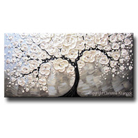 ORIGINAL Art Abstract Painting White Cherry Tree Blossoms Flowers Textured Blue Grey