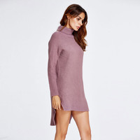 High Neck Dip Hem Slit Loose Short Knit Long Sweater