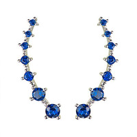 Sweep up Silver Plated Blue Cubic Zirconia Crystal Ear Vine Wrap Pin Ear Cuffs Climber Earrings