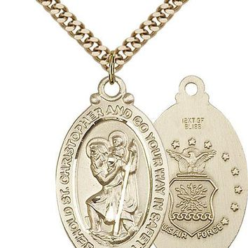 Men's 14K Gold Filled St Christopher Air Force Military Catholic Medal Necklace 617759473735