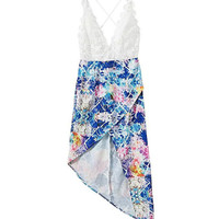Printed V-neck Cross Back High Waist Asymmetrical Mini Dress