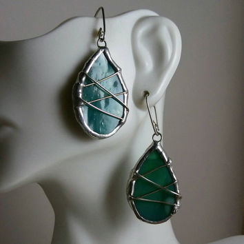 Green Teardrop Earrings, Stained Glass Earrings wrapped in Silver, Stained Glass Jewelry, Stained Glass Earrings, Green Drop Earrings