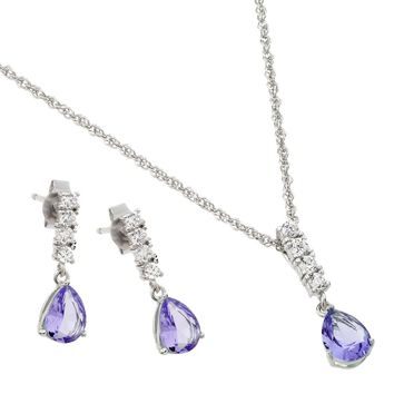 .925 Sterling Silver Rhodium Plated Purple Teardrop Cubic Zirconia Dangling Stud Earring &  Necklace Set