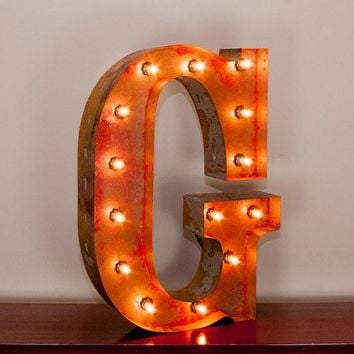 "24"" Letter G Lighted Vintage Marquee Letters with Screw-on Sockets"