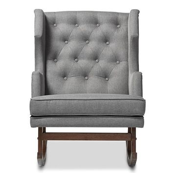 Baxton Studio Iona Mid-century Retro Modern Grey Fabric Upholstered Button-tufted Wingback Rocking Chair Set of 1