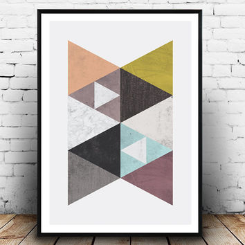 Scandinavian print, Mid century modern, Geometric art, Home wall art, Interior design, Wall prit, Marble print, watercolor abstract,