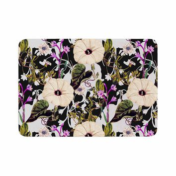 "mmartabc ""Abstract Blooming Botanic"" Purple Multicolor Floral Nature Illustration Watercolor Memory Foam Bath Mat"