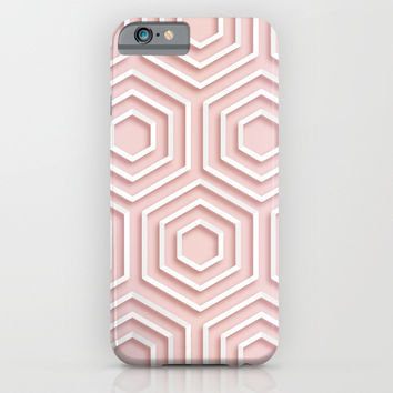 3D Hexagon Gradient Minimal Minimalist Geometric Pastel Soft Graphic Rose Gold Pink iPhone & iPod Case by AEJ Design