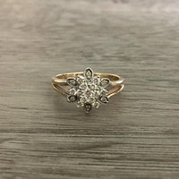 Vintage Floral Diamond Ring in 14k White and Yellow Gold, Round Diamonds G SI1, 1/3 (0.30) Carat total, Size US 7.5  (ring sizing available)