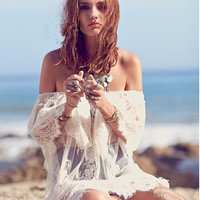 White Sheer Lace Boho Dress