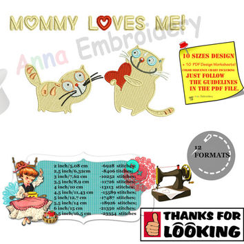 Mommy loves Me Machine Embroidery Design-Cute Mom Cat love-10 sizes-PES