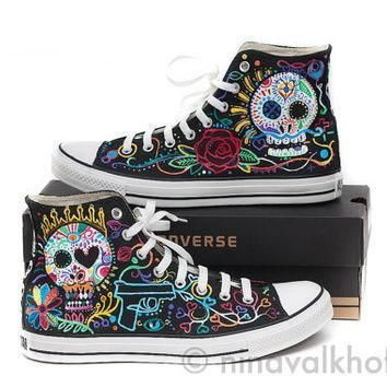 custom made hand painted converse allstars dia de los muertos day of the dead