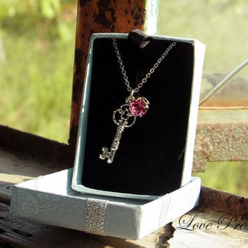 Victorian Sliver Key Necklace &  Earrings Set with Sparkly Swarovski Crystal (Custom Made) - Birthstone Collection