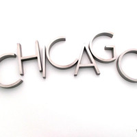 vintage CHICAGO cast aluminum wall letters solid aluminum sign salvage reclaimed industrial metal