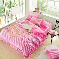 4 Piece Striped Bedding Set with Outer Ruffle