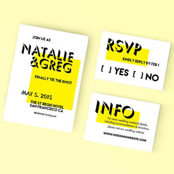 Printable Wedding Invitation Set - Bright Modern Invite, RSVP, Details Card - DIY Digital Ready to Print
