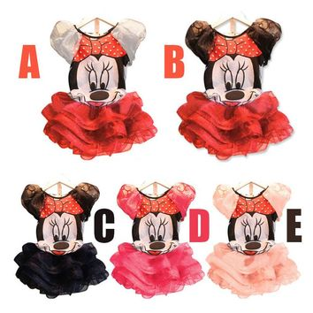 2018 Girls Minnie Mouse Girls Dress For Party Girl Kids Clothing Baby Children Fashion Summer Cartoon 2pcs Separate Set Dresses