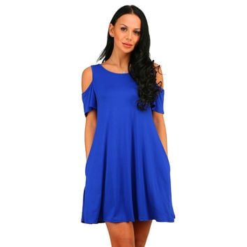 Blue Cutout Shoulder Pocket Swing Dress