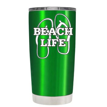 The Beach Life Sandals on Translucent Green 20 oz Tumbler Cup