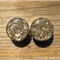NEW Earth Shard Glitter Plugs - 0g, 00g, 7/16, 1/2, 9/16, 5/8, 3/4, 7/8, 1 Inch