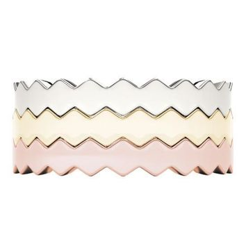 Stackables 1/2 Eternity Tri-Tone Gold Elegant 3-Band Set