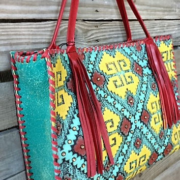 KurtMen Box Tote with Yellow, Turquoise and Santa Fe Red Embossed Aztec and Red Fringe