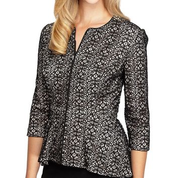 Alex Evenings 3/4 Sleeve Lace Zip-Front Jacket | Dillards