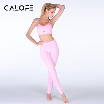 CALOFE 2018 Summer New 2Pcs Yoga Set Women Bra Long Pants Sportsuite Fitness Sport Suit Sportswear Gym Fitness Clothes Leggings