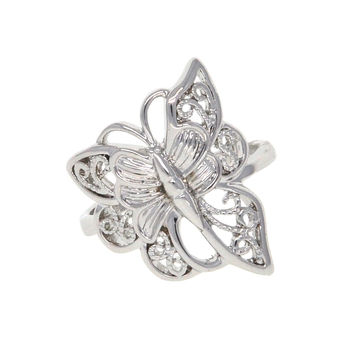 Dear Deer White Gold Plated Butterfly Art Filigree Cocktail Ring