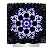 Ultraviolet Floral Kaleidoscope Mandala Shower Curtain for Sale by Tigerlynx Art