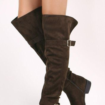 LMFIW1 Suede Buckled Over-The-Knee Riding Boots
