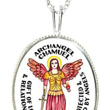"Archangel Chamuel Gift of Love & Relationships 925 Sterling Silver 1"" Pendant & 20"" Chain Necklace"