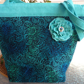 Handcrafted Paisley Print Snap Handle Purse/ Shoulder Bag/Tote Bag with Fabric Flower