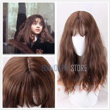 Biamoxer Movie Harry Potter Hermione Jean Granger Brown Wavy Curly Synthetic Hair Cosplay Costume Wigs + Wig Cap