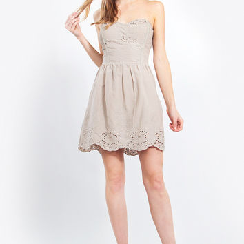 Taupe Strapless Dress