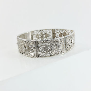 Antique Annetille Sterling Panel Bracelet - Victorian Filigree Asian Bracelet - Sterling Silver Filigree Bracelet - Wide Panel Bracelet
